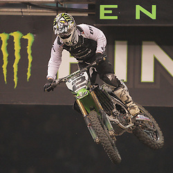 14 March 2009: Ryan Villopoto (2) take to the air during the Monster Energy AMA Supercross race at the Louisiana Superdome in New Orleans, Louisiana
