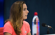 Alize Cornet of France talks to the media after receiving a wrongful code violation during yesterdays match at the 2018 US Open Grand Slam tennis tournament, at Billie Jean King National Tennis Center in Flushing Meadow, New York, USA, August 29th 2018, Photo Rob Prange / SpainProSportsImages / DPPI / ProSportsImages / DPPI