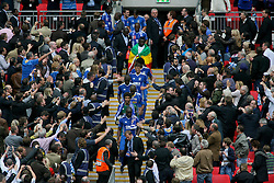 LONDON, ENGLAND - Saturday, May 17, 2008: Portsmouth's captain Sol Campbell and goalkeeper David James lead the players back down the Wembley steps after winning the FA Cup, beating Cardiff City 1-0, during the FA Cup Final at Wembley Stadium. (Photo by Chris Ratcliffe/Propaganda)