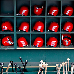 March 20, 2012; Sarasota, FL, USA; A detailed view of Philadelphia Phillies bats and batting helmets inside the dugout before a spring training game against the Baltimore Orioles at Ed Smith Stadium.  Mandatory Credit: Derick E. Hingle-US PRESSWIRE