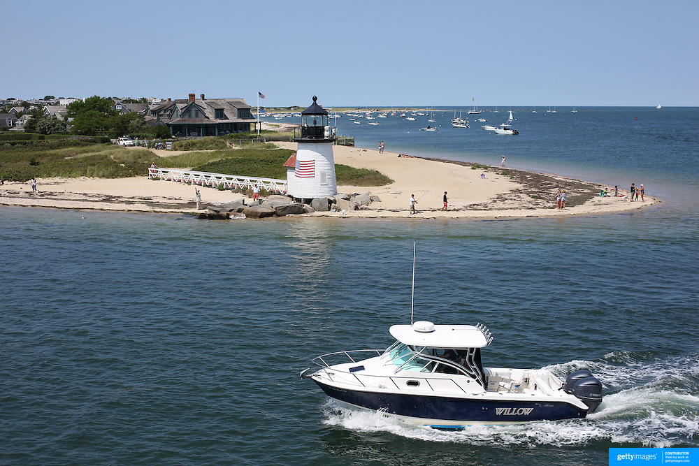 The entrance to Nantucket Harbor showing Brant Point Light, America's second oldest lighthouse, Nantucket Island, Massachusetts, USA. Photo Tim Clayton