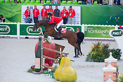 Steve Guerdat, (SUI), Nino Des Buissonnets - Team & Individual Competition Jumping Speed - Alltech FEI World Equestrian Games™ 2014 - Normandy, France.<br /> © Hippo Foto Team - Leanjo De Koster<br /> 02-09-14
