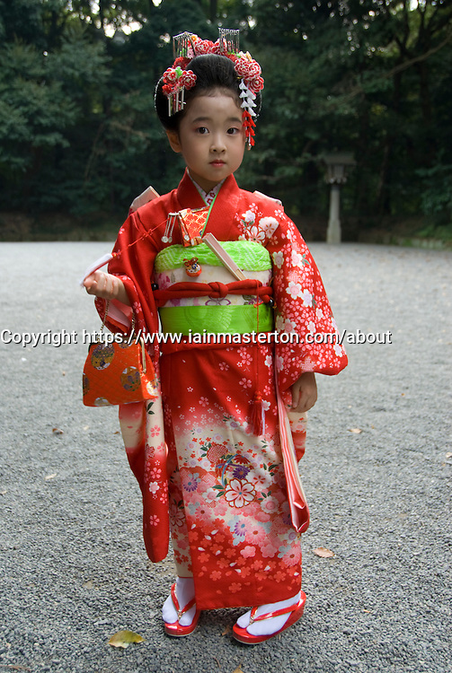 Young japanese girl in traditional kimono in Tokyo Stock Photograph