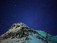 Svartihnúkur in Eyrarsveit and a star filled sky. Snæfellsnes Peninsula, West Iceland.