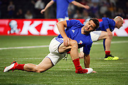 Bixente Lizarazu (France 98) and Zinedine Zidane (France 98) at warm up during the 2018 Friendly Game football match between France 98 and FIFA 98 on June 12, 2018 at U Arena in Nanterre near Paris, France - Photo Stephane Allaman / ProSportsImages / DPPI