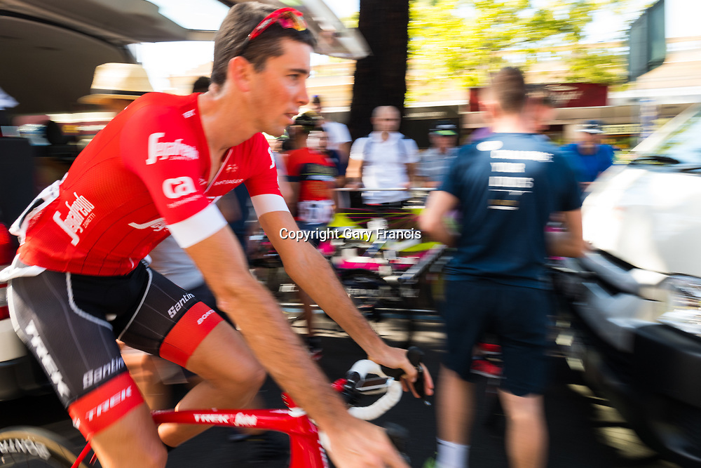 Laurent Didier of Trek Segafredo making his way back to the team car before the start of Stage 4, Norwood to Uraidla, of the Tour Down Under, Australia on the 19 of January 2018 ( Credit Image: © Gary Francis / ZUMA WIRE SERVICE )