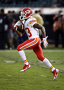 Kansas City Chiefs punt returner De'Anthony Thomas (13) returns a punt while warming up before the NFL week 12 regular season football game against the Oakland Raiders on Thursday, Nov. 20, 2014 in Oakland, Calif. The Raiders won their first game of the season 24-20. ©Paul Anthony Spinelli