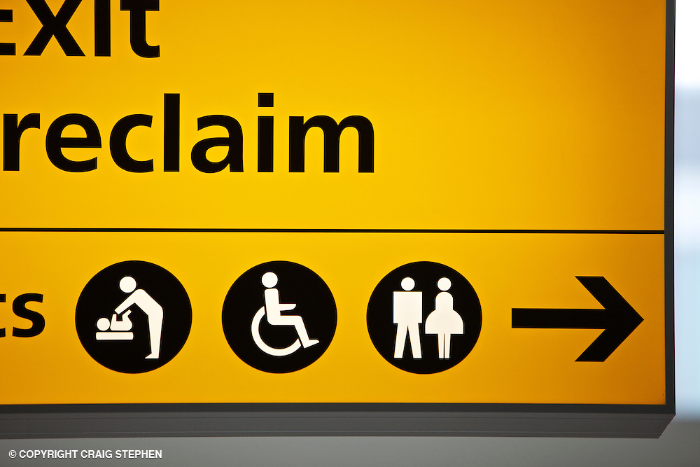 Signage for toilets airside at airport