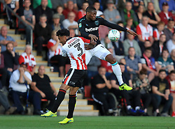 Diafra Sakho of West Ham United out jumps Jordan Cranston of Cheltenham Town - Mandatory by-line: Paul Roberts/JMP - 23/08/2017 - FOOTBALL - LCI Rail Stadium - Cheltenham, England - Cheltenham Town v West Ham United - Carabao Cup