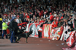 Police guard dogs bark at the away fans prior to the match - Mandatory by-line: Patrick Khachfe/JMP - 14/09/2017 - FOOTBALL - Emirates Stadium - London, England - Arsenal v Cologne - UEFA Europa League Group stage
