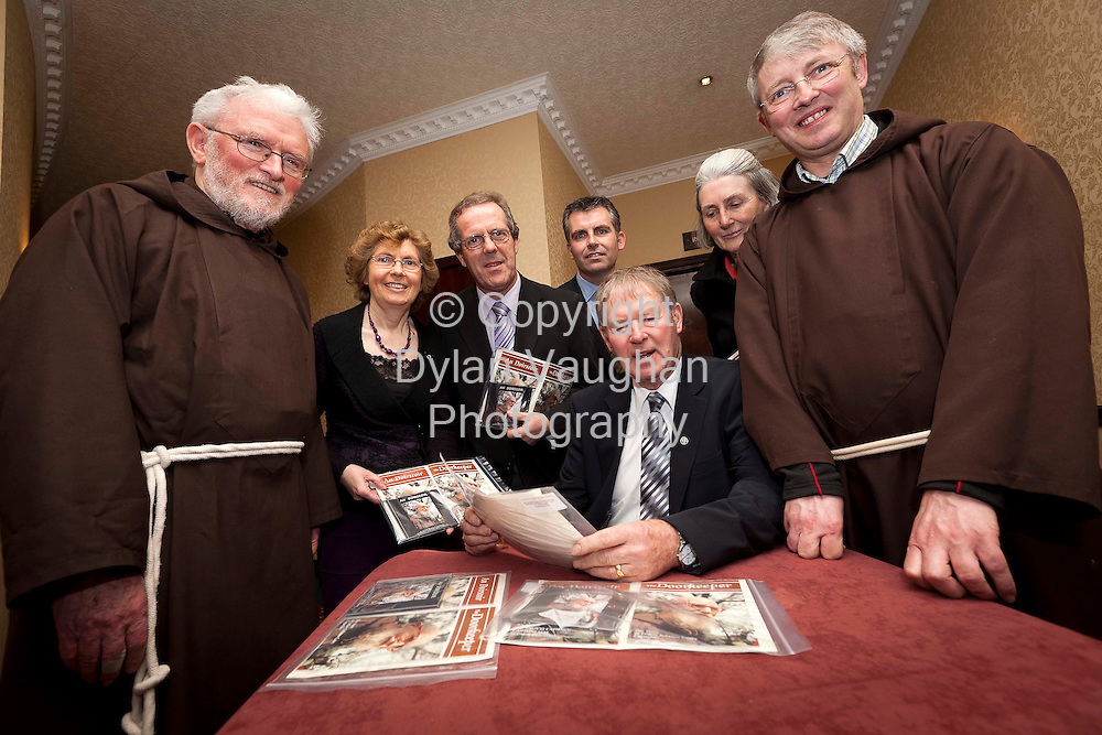 18/1/2011.Micheal O Muircheartaigh pictured at the launch of The Doorkeeper, the story of Solanus Casey Capuchin at the Seven Oaks Hotel in Carlow last night..Also in the picture from left was Father Leo McCauliffe, Brid De Roiste, Eamon O Hargain, Darren O Rodaigh, Joan Coen and Brother Joe Gallagher..Picture Dylan Vaughan.