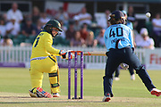 Rachael Haynes of Australia (7) sweeps during the Royal London Women's One Day International match between England Women Cricket and Australia at the Fischer County Ground, Grace Road, Leicester, United Kingdom on 4 July 2019.