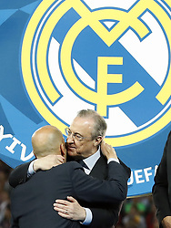 (L-R) coach Zinedine Zidane of Real Madrid, chairman Florentino Perez of Real Madrid during the UEFA Champions League final between Real Madrid and Liverpool on May 26, 2018 at NSC Olimpiyskiy Stadium in Kyiv, Ukraine