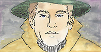 Water color of a young man in a hat and trench coat looking sad or serious. Close up of head and shoulders.