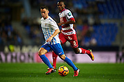 "MALAGA, SPAIN - DECEMBER 09:  Juan Pablo Anor ""Juanpi"" of Malaga CF (L) being followed by Uche Henry Agbo of Granada CF (R) during La Liga match between Malaga CF and Granada CF at La Rosaleda Stadium December 9, 2016 in Malaga, Spain.  (Photo by Aitor Alcalde Colomer/Getty Images)"