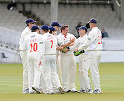 London GREAT BRITAIN, Glamorgans', wicketkeeper, Mark WALLACE, is congratulated by team mates after catching, Middlesexs', Owais SHAH, from, Ryan WATKINS bowling, during the LV. County Championship Cricket match, Middlesex vs Glamorgan, Lord's Cricket Ground, St John's Wood, 23.04.2008 [Mandatory Credit Peter Spurrier/Intersport Images]