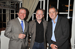 Left to right, JON CULSHAW, ROBIN INCE and JEREMY COOKE at a dinner in aid of the charity Save The Rhino held at ZSL London Zoo, Regents Park, London on 16th October 2012.
