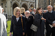 LADY BLAKE; SIR PETER BLAKE; ALEXANDRA SHULMAN; SAM MCNIGHT, Service of thanksgiving for  Lord Snowdon, St. Margaret's Westminster. London. 7 April 2017