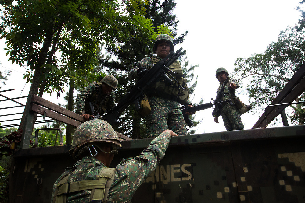 MARAWI, PHILIPPINES - JUNE 9: Philippine marines loads weapons in to the truck as they prepare to attack the Islamist rebels in Marawi, southern Philippines on June 9, 2017. Philippine military jets fired rockets at militant positions on Friday as soldiers fought to wrest control of the southern city from gunmen linked to the Islamic State group. (Photo: Richard Atrero de Guzman/NUR Photo)