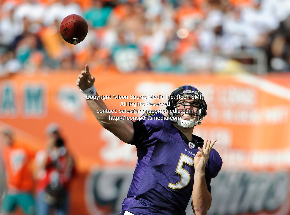 04 January 2009: Baltimore Ravens Quarterback Joe Flacco (5) throws the ball as the Baltimore Ravens defeated the Miami Dolphins 27-9 in an NFL AFC Wild Card Playoff game at Dolphin Stadium in Miami, Florida.