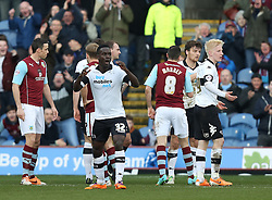 Derby players show their disbelief as Chris Martin is dismissed - Photo mandatory by-line: Matt Bunn/JMP - Tel: Mobile: 07966 386802 22/02/2014 - SPORT - FOOTBALL - Turf Moor Stadium- Burnley - Burnley  v Derby County- Sky Bet Championship