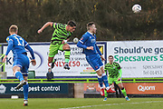 Forest Green Rovers Matty Stevens(9) heads the ball during the The FA Cup match between Forest Green Rovers and Carlisle United at the New Lawn, Forest Green, United Kingdom on 30 November 2019.