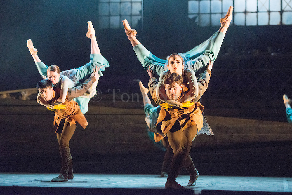 &copy; Tony Nandi. 01/04/2014. English National Ballet present Lest We Forget at the Barbican Theatre, London. Picture features the World Premier No Man&rsquo;s Land choregraphed by Liam Scarlett. Featuring dancers: Tamara Rojo, Esteban Berlanga<br /> Erina Takahashi, James Forbat<br /> Fernanda Oliveira, Max Westwell.