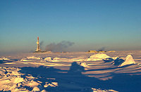 Drilling rig on Makenzie delta North of Arctic Circle, Northwest Territories   Photo: Peter Llewellyn