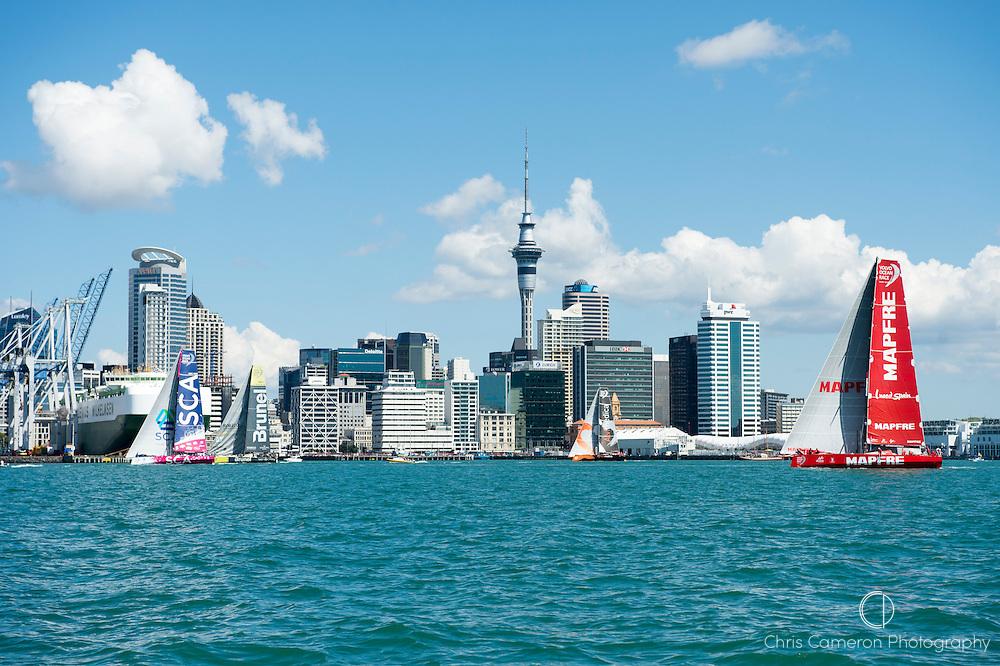 Volvo Ocean Race, NZ Herald In Port Race, Auckland. The fleet pass rthe Auckland skyline on leg one. 14/3/2015