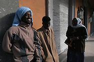Roma, 08/11/2004: Rifugiati somali richiedenti asilo politico, vivono da anni in stato di abbandono all'interno dell'edificio che ospitò l'Ambasciata della Repubblica Democratica  Somala - Somali refugees seeking political asylum, living for years in a state of neglect in the building that housed the Embassy of the Somali Democratic Republic. ©Andrea Sabbadini