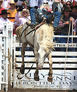 Bareback Rider Dustin Mulrony scores an 81 on Storm Lake, 26 July 2007, Cheyenne Frontier Days