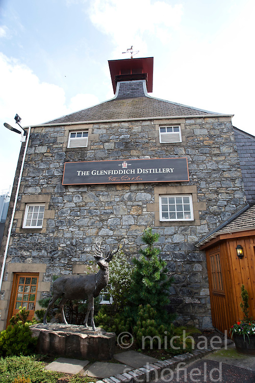 The Glenfiddich Distillery in Dufftown, Scotland. It is a Speyside single malt Scotch whisky distillery owned by William Grant & Sons...