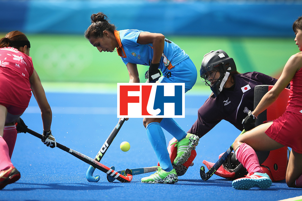 RIO DE JANEIRO, BRAZIL - AUGUST 07:  Preeti Dubey of India controls the ball in front of goal during the women's pool B match between Japan and India on Day 2 of the Rio 2016 Olympic Games at the Olympic Hockey Centre on August 7, 2016 in Rio de Janeiro, Brazil.  (Photo by Mark Kolbe/Getty Images)