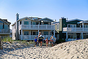Family returns to rental house after a day at the beach, Ocean City, New Jersey, USA