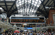 General overall view of the Liverpool Street Station main street conccourse  in the ward of Bishopsgate in London, United Kingdom, Saturday, July 14, 2018. The underground, overground railway stations serves  as the terminus of the West Anglia Main Line to Cambridge, the  Great Eastern Main Line to Norwich, local and regional commuter trains serving east London and destinations in the East of England, and the Stansted Express service to Stansted Airport.