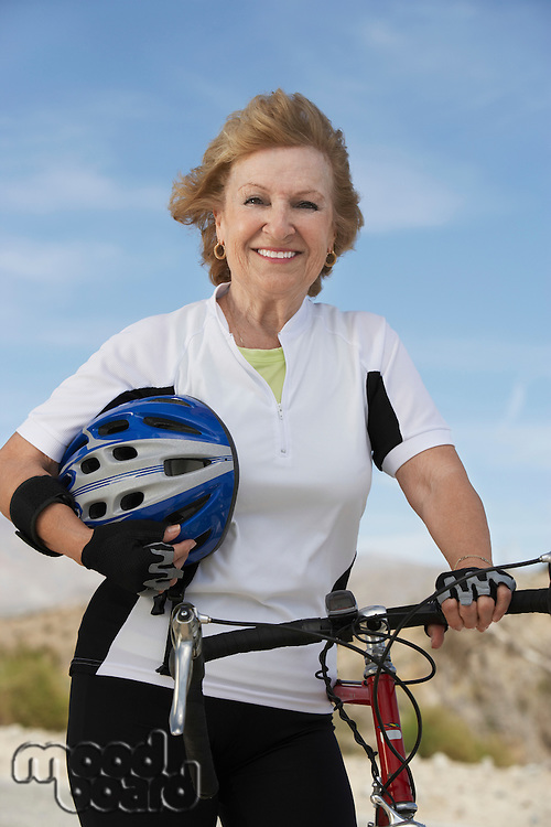 Smiling Woman Out for a Bicycle Ride