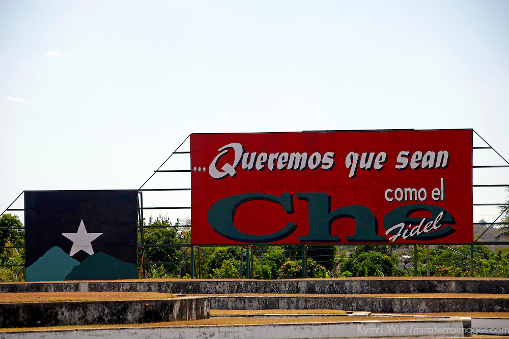 Central America, Cuba, Santa Clara. A sign honoring Che Guevara with words from Fidel Castro at the Che Guevara Memorial and Museum.