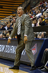 March 16, 2011; Berkeley, CA, USA;  California Golden Bears head coach Mike Montgomery on the sidelines against the Mississippi Rebels during the second half of the first round of the National Invitation Tournament at Haas Pavilion.  California defeated Mississippi 77-74.