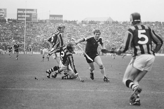 Galway player outnumbered during All Ireland Senior Hurling Final Kilkenny v Galway, Kilkenny 2-12, Galway 1-8, 2nd September 1979.