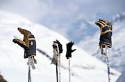 Gloves on ski poles, Atztaler Alps, Italy.