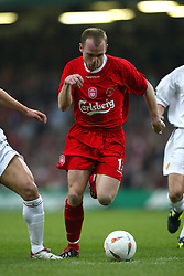 CARDIFF, WALES - Sunday, March 2, 2003: Liverpool's Danny Murphy charges through the Manchester United defence during the Football League Cup Final at the Millennium Stadium. (Pic by David Rawcliffe/Propaganda)