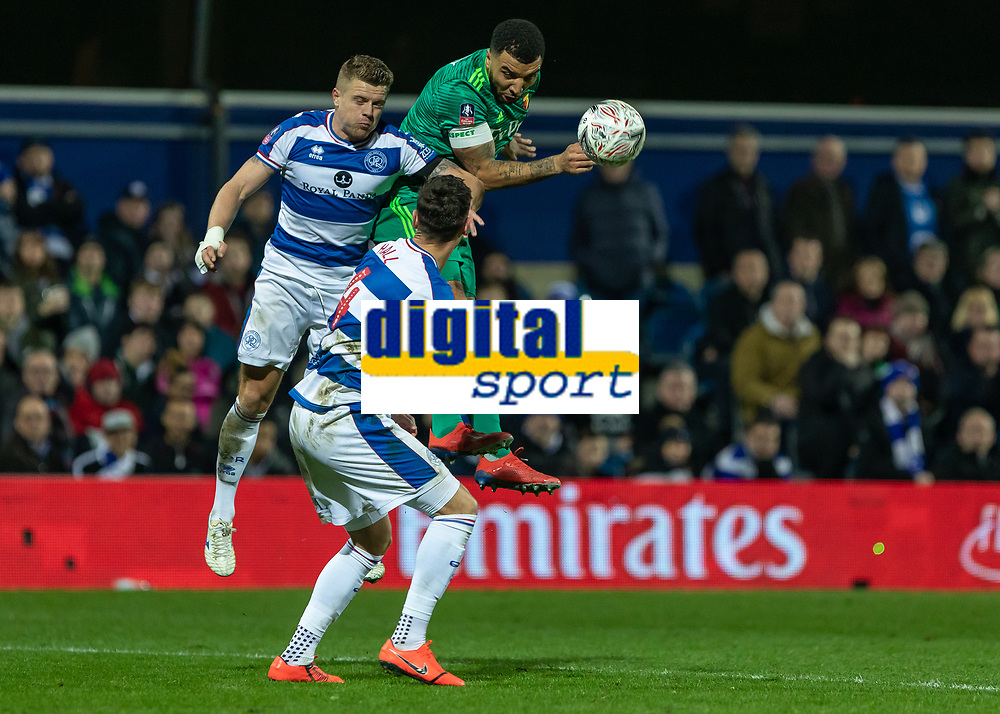 Football - 2018 / 2019 Emirates FA Cup - Fifth Round: Queens Park Rangers vs. Watford<br /> <br /> Troy Deeney (Watford FC)  heads down across then box at Loftus Road<br /> <br /> COLORSPORT/DANIEL BEARHAM