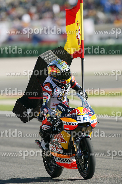 07.11.2010, Valencia, ESP, MotoGP, GP Generali del la comunitat Valenciana, im Bild celebration of Marc Marquez - Red bull Derbi team. EXPA Pictures © 2010, PhotoCredit: EXPA/ InsideFoto/ Semedia +++++ ATTENTION - FOR AUSTRIA AND SLOVENIA CLIENT ONLY +++++
