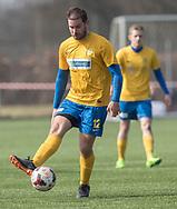 FODBOLD: Nicklas Hansen (Ølstykke FC) under kampen i Serie 1 mellem Helsinge Fodbold og Ølstykke FC den 14. april 2018 på Helsinge Stadion. Foto: Claus Birch.