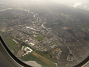 View of urban landscape from an airplane