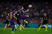 Ivan Rakitic jumps to control the ball during the La Liga match between Barcelona and Atletico Madrid at Camp Nou, Barcelona, Spain on 21 September 2016. Photo by Eric Alonso.