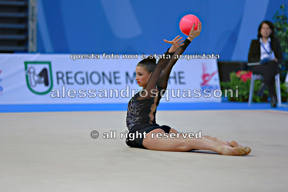 Vass Dora during qualifying at ball in Pesaro World Cup at Adriatic Arena on April 10, 2015. Dora was born in Budapest on September 08,1991. She is a rhythmic gymnast since 1999 and member of the Hungarian National Team since 2004.