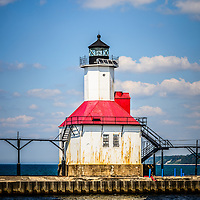 Saint Joseph Lighthouse picture. The St. Joseph Michigan Lighhouse is located along Lake Michigan in Southwestern Michigan. The photo is high resolution and was taken in 2013. Image Copyright © Paul Velgos All Rights Reserved.