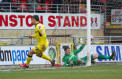LONDON, ENGLAND - Saturday, February 9, 2013: Tranmere Rovers' Michael O'Halloran scores the first goal against against Leyton Orient's goalkeeper Jamie Jones to make the score 2-1 during the Football League One match at Brisbane Road. (Pic by David Rawcliffe/Propaganda)