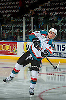 KELOWNA, CANADA - JANUARY 7: Calvin Thurkauf #27 of the Kelowna Rockets warms up against the Kamloops Blazers on January 7, 2017 at Prospera Place in Kelowna, British Columbia, Canada.  (Photo by Marissa Baecker/Shoot the Breeze)  *** Local Caption ***